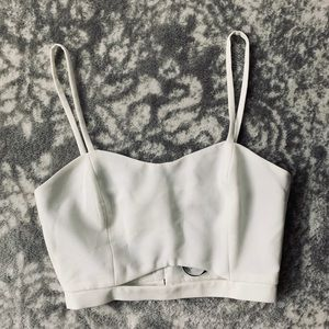 White Misguided Cut Out Crop Top